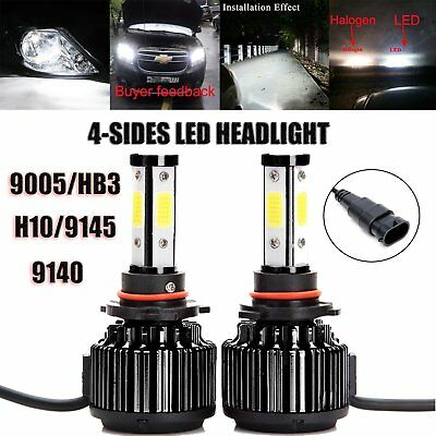 9005 HB3 H10 LED Headlight Bulbs 20000LM 200W 6000K Cool White Conversion Kit