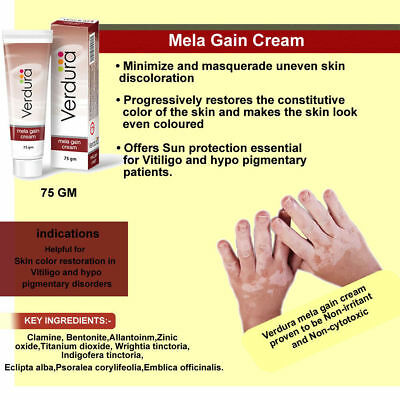 Mela gain Cream for Vitiligo Skin White Spots Patches Re Pigmentation 75gm - UK
