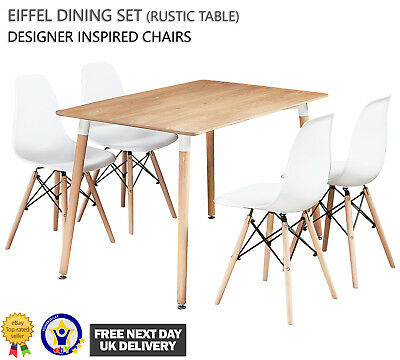 Eiffel Dining Set - 4 x White Eiffel Chairs & Rustic Halo Dining Table Designer