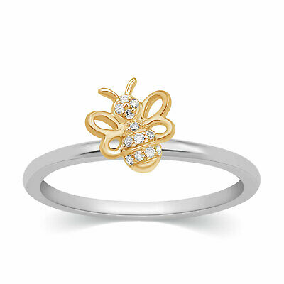 Round Cut Real Natural Diamond Honey Bee Band Ring 14k White Gold Womens