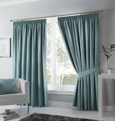 Fusion Dijon Duck Egg Luxury Thermal/Blackout Pencil Pleat Fully Lined Curtains