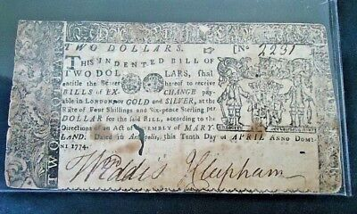 NO RESERVE Very Desirable $2.00 Colonial Currency 1774 Annapolis Maryland F/VF.