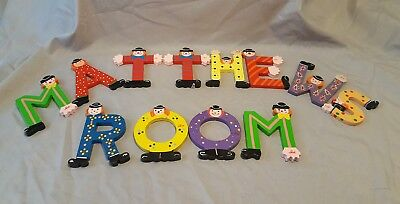 SEVI Wood CLOWN Letters Spells  MATTHEWS ROOM (or other words) 12 LETTERS TOTAL