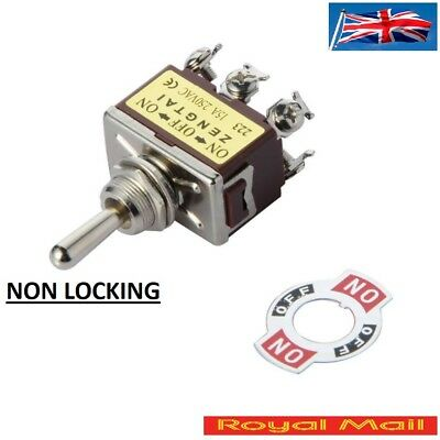 15A 250V 6-Pin Toggle DPDT ON-OFF-ON Momentary Switch NON LOCKING #S74