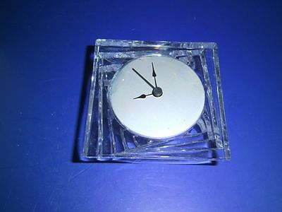 J.G. Durand Cristal d'Arques France 24% Lead Crystal Clock Shantung Deco Style