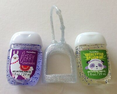 Bath & Body Works  2 x Hand Sanitizer Anti-Bac Gel & Holder, Berry Llama Panda