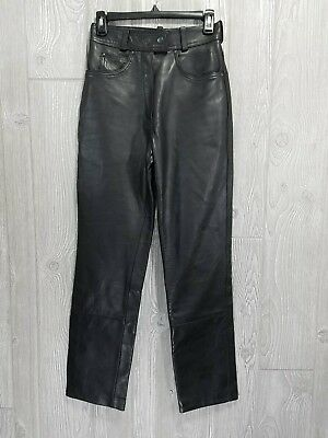 "Highway 1 Excel Women's Black Leather Riding Biker Motorcycle Pants 26"" Waist"
