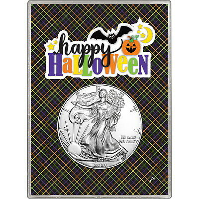 2019 Silver American Eagle BU in Happy Halloween Gift Holder