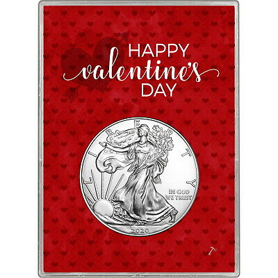 2019 Silver American Eagle BU in Happy Valentine's Day Gift Holder