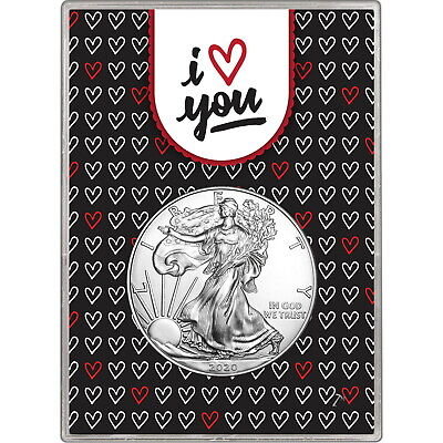 2019 Silver American Eagle BU in I Love You Hearts Gift Holder