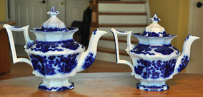 Rare Pair of Antique Staffordshire Flow Blue Ironstone Teapots Morley Cashmere