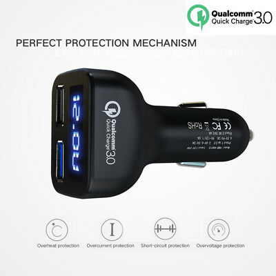 Black USB 4 In 1 Dual For iPhone Car Charger Adapter Voltage DC 5V 3.1A Tester