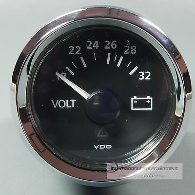 VDO VOLTMETER INSTRUMENT GAUGE + LED 24V 52mm  new Generation classic chrom