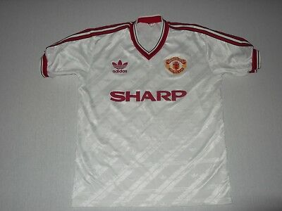 d45ee6db4 Manchester United Vintage 1986 White Away Football Shirt Vintage Adidas S S