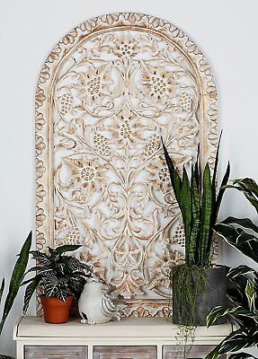 Large Rustic Vintage Arched Wood Carved Scrolling Wall Art Panel Sculpture Decor