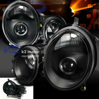 00-02 Mercedes Benz E320 E430 E-Class W210 Projector Headlights Lamps Black