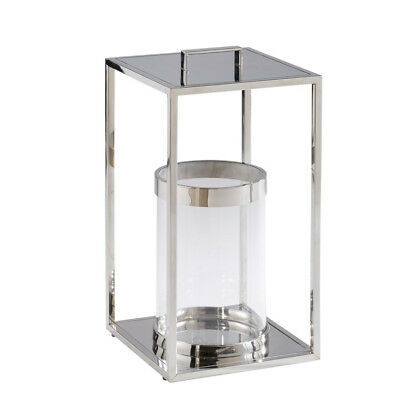 Outdoor/ Indoor Chrome Tall Candle Lantern Home Garden Patio NEW RRP £115 gift?