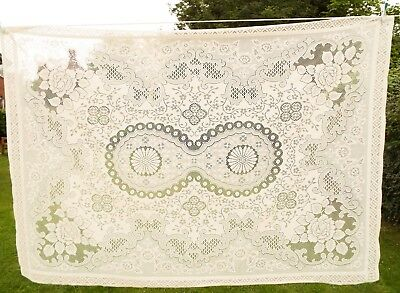 """Unused new large vintage polyester cream floral roses lace tablecloth 52"""" x 74"""""""