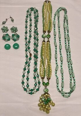 VIntage Green Costume Jewelry Lot Beaded Necklaces Earrings Estate