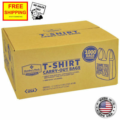 New 1000** T-Shirt Carry Out Retail Plastic Bags Recyclable Grocery Shopping