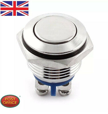 16mm Waterproof Momentary Action Metal Push Button Starter Switch SPST Flat Head