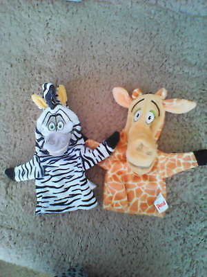 Persil Madagascar 2 Hand Puppets zebra & Giraffe. Great Condition.