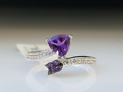 Natural Trillion Cut 0.5ct Amethyst Sapphire Arrow Wrap Sterling Silver Ring