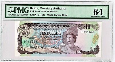 Belize: $10 1.6.1980 Pick 40a. PMG Choice Uncirculated 64.