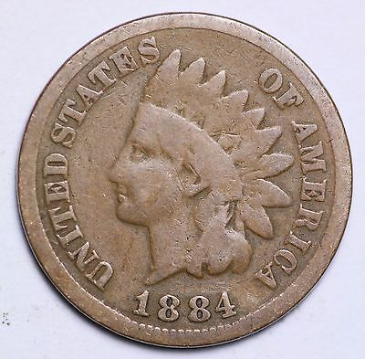1884 Indian Head Cent Penny / Circulated Grade Good / Very Good 95% Copper Coin