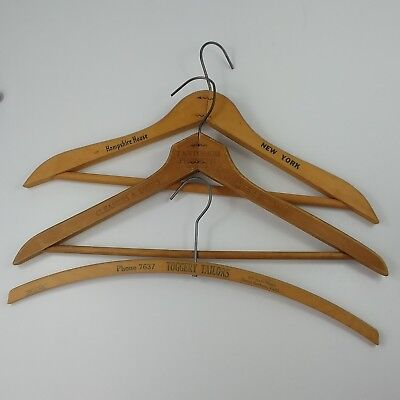 3 Vtg Pantorium Toggery Hampshire Hotel Dry Cleaner Tailor Wood Coat Hangers
