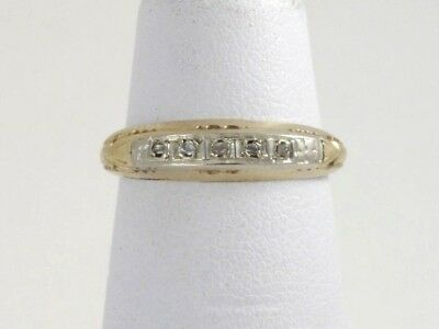 Antique Art Deco 14k Two Tone Gold Diamond Accent Anniversary Wedding Band