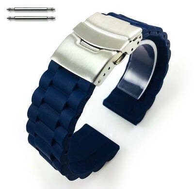 Blue Rubber Silicone Replacement Watch Band Strap Double Locking Buckle #4092
