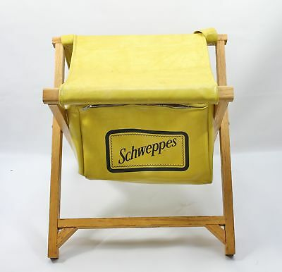 Vintage Yellow Schweppes Wood Folding Stool w/ Drink Cooler Storage Carry Strap