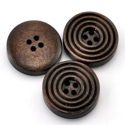 """Fashion 25PCs Dark Coffee 4 Holes Round Wood Sewing Buttons 20mm(6/8"""") Dia DS"""