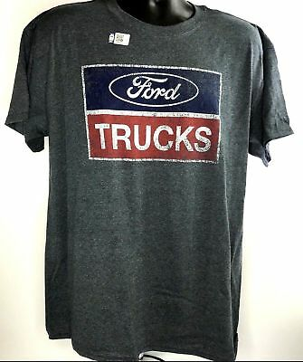 Ford Trucks T-Shirt - Gray w/ Blue Oval & Red Logo / Emblem (Licensed)