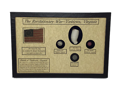 Revolutionary War Bullets, Clay Pipe & Marble in Glass Top Display Case with COA
