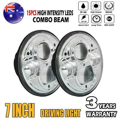 2x 7inch 200W High-Low Beam Round 4x4 DRL H4 Headlight Offroad LED Driving Light