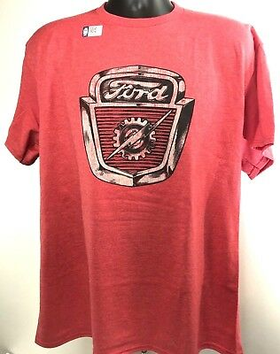 Ford T-Shirt - Red w/ 1953-1956 Ford Truck Hood Emblem / Logo (Licensed)
