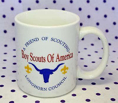 BSA Boy Scouts of America White Coffee Cup Mug LONGHORN Council Logo Friend