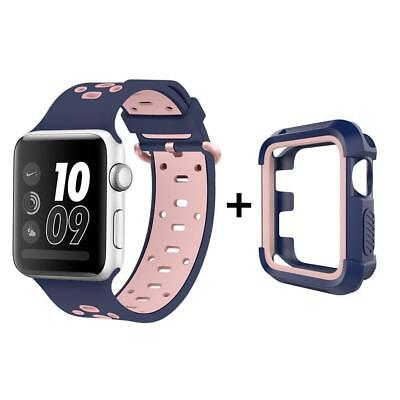 UMTELE Case and Band for Apple Watch 38mm, Silicone Replacement Strap with...