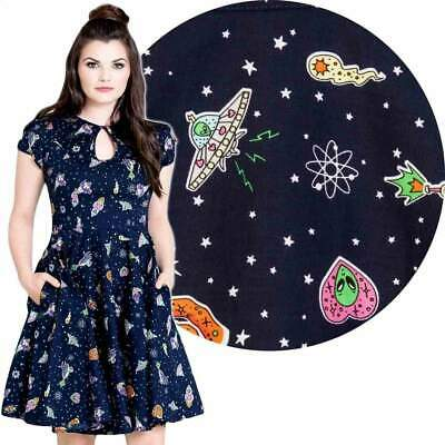 Hell Bunny Navy Atomic Mid 50's Dress 60s Rockabilly Pin Up Vintage Retro Space