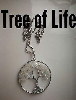 Code 822 extra large heart Opalite Tree of Life Infused Necklace Heaven Reiki