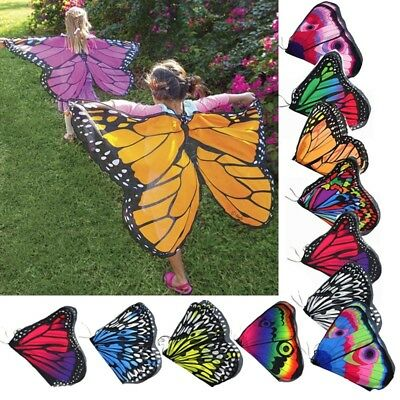 Kids Butterfly Wing Cape Scarf Colorful Cape Shawl Neckerchief Funny Dress