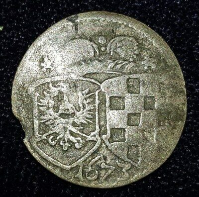 1673, 3 Pfennig from Silesia Liegnitz Breis, Germany.  No Reserve!
