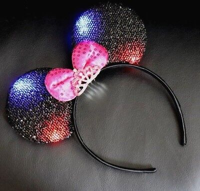 Minnie Mouse Ears Headband Princess Black With Pink Bow Party Light