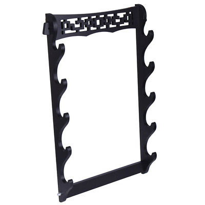 5 Layers Samurai Sword Stand Wall Mount Holder Black Vintage Bracket Hollow Out