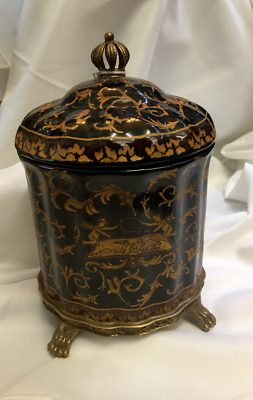 NEW ormolu hand painted (gold)  Black Porcelain Jar with Lid with Bronze trims