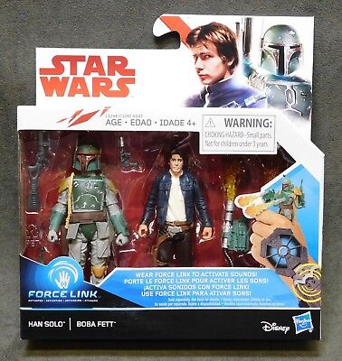 "Star Wars The Last Jedi Force Link Han Solo Boba Fett 3.75/"" Figure 2 Pack NIB"