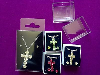 "JOB LOT-4 sets of crosses-colour diamante + 17"" chain.Gift boxed.Silver plated."