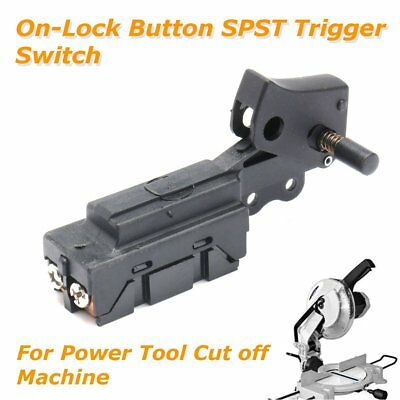 Black On-Lock Button SPST Trigger Switch for Power Tool Cut Off Machine Plastic